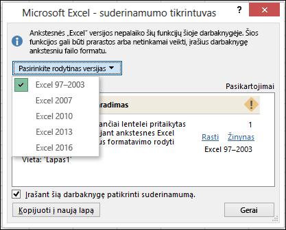 """""""Excel"""" suderinamumo tikrintuvo dialogo langas"""