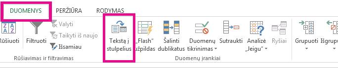"""Piktograma """"Tekstas į stulpelius"""" skirtuke Duomenys."""