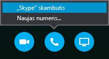 """Pasirinkite Skambinti, kad susisiektumėte su """"Skype"""" skambučiu arba kad susitikimas jums paskambintų"""