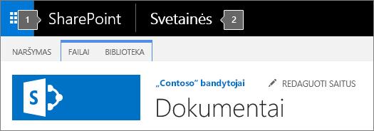"""""""SharePoint 2016"""" viršutiniame kairiajame ekrano kampe rodoma taikomųjų programų vykdyklė ir pavadinimas"""