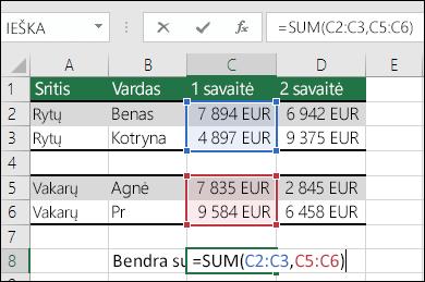 Funkcijos SUM naudojimas su ne gretimais diapazonais.  Langelyje C8 formulė yra =SUM(C2:C3,C5:C6). Taip pat gali naudoti pavadintus diapazonus, kad formulė būtų =SUM(Week1,Week2).