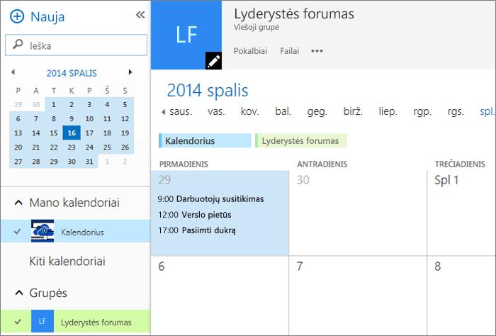 Grupės kalendorius