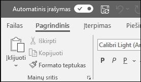 """""""Office"""" skirtas automatinio įrašymo funkcijos perjungiklis"""