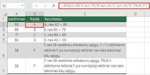 "IFS funkcijos įvertinimų pavyzdys.  Langelyje B2 formulė yra =IFS(A2>89,""A"",A2>79,""B"",A2>69,""C"",A2>59,""D"",TRUE,""F"")"