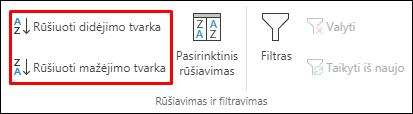 """""""Excel"""" rūšiavimo didėjimo tvarka ir rūšiavimo mažėjimo tvarka mygtukai skirtuke Duomenys"""