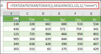 TEKSTO, datos, metų, šiandienos ir sekos funkcijų derinio naudojimas norint sukurti dinaminį 12 mėnesių sąrašą