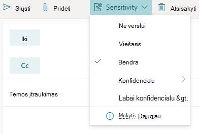 """""""Outlook for web"""" jautrumo parinkčių mygtukas"""