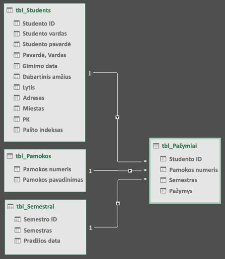 Power Query duomenų modelio ryšių diagramos rodinys