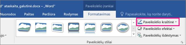 Paveikslėlių įrankių formatavimo skirtuke pažymėta parinktis Paveikslėlio kraštinė.