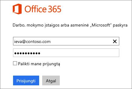 """""""Office 365"""" prisijungimo srities ekrano nuotrauka"""