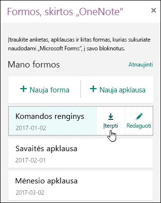 """Formų, skirtų """"OneNote"""", skirtos žiniatinklio plokštui, sąrašas"""