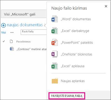 Naujo dokumento dialogo lango su paryškintu mygtuku Įkelti esamą failą ekrano kopija
