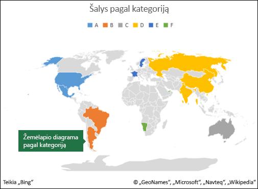 """""""Excel"""" žemėlapio diagrama pagal kategoriją"""