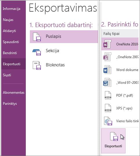 """Pastabas galite eksportuoti ir kitais formatais, pvz., PDF, XPS arba kaip """"Word"""" dokumentą."""