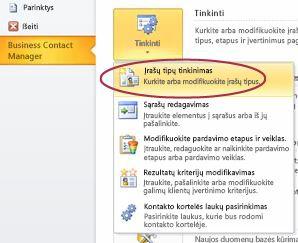 """Tinkinti """"Business Contact Manager"""" įrašų tipų komanda """"Outlook"""" Backstage """"rodinyje"""