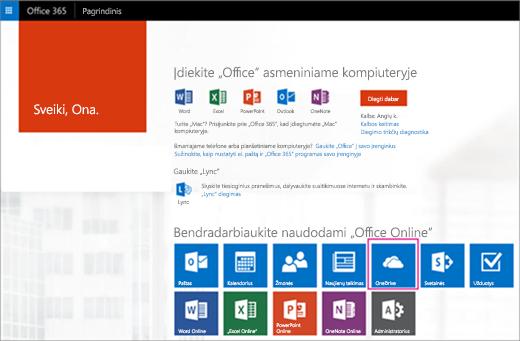 """Taikomųjų programų vykdyklėje pasirinkite """"OneDrive"""" plytelę."""