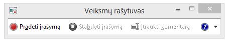 Veiksmų rašytuvo arba PSR.exe ekrano nuotrauka.