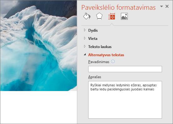 Naujas ledynų ežero vaizdas su dialogo langu Formatuoti paveikslėlį, kurio lauke Aprašas rodomas patobulintas alternatyvusis tekstas.