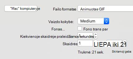 Show's slide range for export