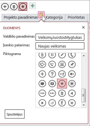Žiniatinklio duomenų lapo pasirinktinio veiksmo dialogo langas Duomenys