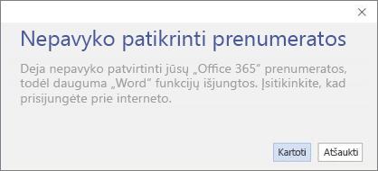 """""""Nepavyko patvirtinti prenumeratos"""" klaidos pranešimo ekrano kopija"""