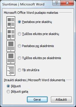 """Dialogo langas Siųsti į """"Microsoft Word"""""""