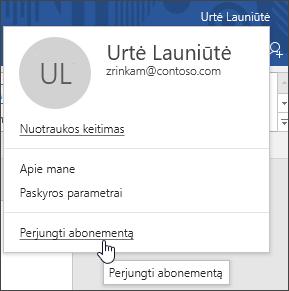 """Ekrano vaizdo įrašas, rodantis, kaip perjungti paskyras """"Office"""" kompiuterio programoje"""