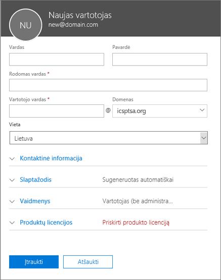 """Ekrano nuotrauka, kurioje rodomi laukai, pildomi, kai įtraukiate vartotoją į """"Office 365"""" verslui"""