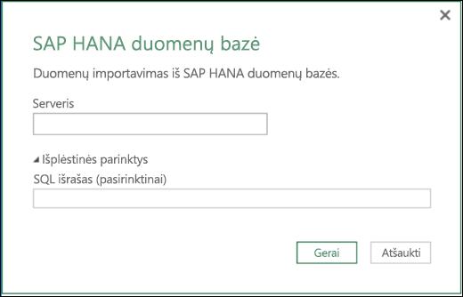 """""""Excel Power BI"""" SAP HANA duomenų bazės importavimo dialogo langas"""