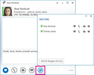 Pokalbių lango su mygtuku Kviesti daugiau žmonių ir dialogo langu ekrano nuotrauka