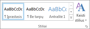Stilių grupė teksto formatavimo juostelėje