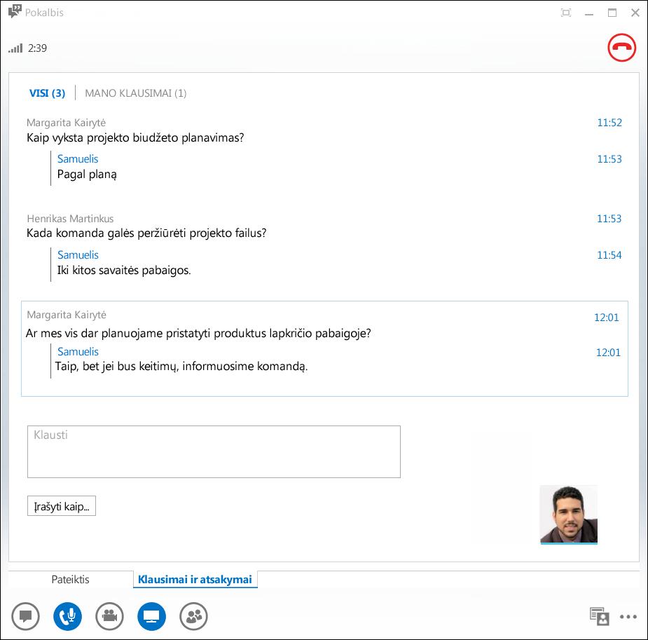 Klausimų ir atsakymų tvarkytuvo ekrano kopija