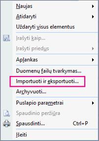 Pasirinkite Importavimas ir eksportavimas.