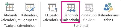 """Mygtukas Bendrinti kalendorių programos """"Outlook 2013"""" skirtuke pagrindinis"""
