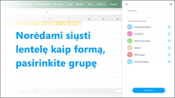Ekrano: Selecta grupę, kurią norite siųsti į lentelę