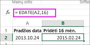 naudokite formulę EDATE, kad prie datos pridėtumėte mėnesių