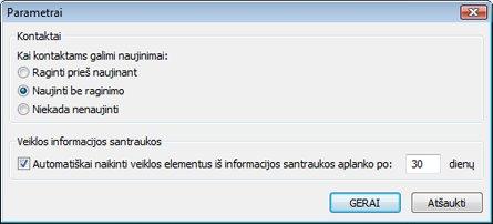 """""""Outlook"""" socialinių jungčių parametrų dialogo langas"""