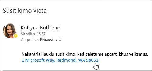 """Ekrano nuotrauka su tekstu apie susitikimą ir susitikimo adresą laiško pabraukiamas, nurodančius, kad gali būti pasirenkami peržiūrėti """"Bing"""" žemėlapių."""