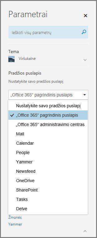 """""""Office 365"""" pradžios puslapio keitimas"""
