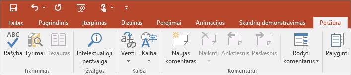 """Programos """"PowerPoint"""" juostelėje rodomas skirtukas Peržiūra"""