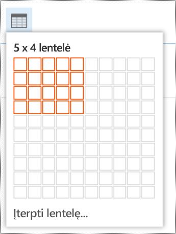 """Įtraukite paprastą lentelę į internetinę """"Outlook""""."""