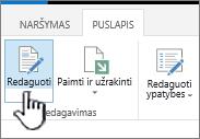 Puslapio skirtukas su paryškintu mygtuku redaguoti