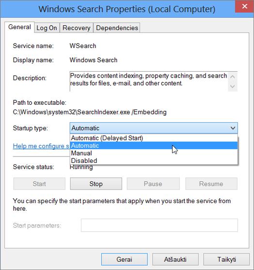"""""""Windows"""" ieškos ypatybių dialogo lango ekrano kopija rodo paleisties tipas pasirinkta Automatinis nustatymas."""