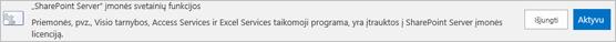 SharePoint Server įmonės svetainių funkcijų aktyvinimas
