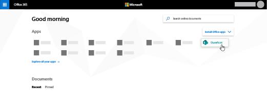 """""""Office 365"""" pagrindinį puslapį su """"SharePoint"""" paryškinta"""