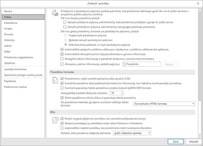 """""""Outlook"""" parinkčių puslapio su paryškintu laiškų kategorijos"""