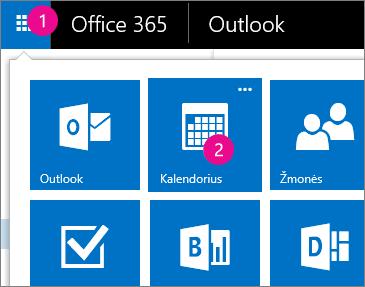 """Outlook Web App"", kalendoriaus atidarymas"