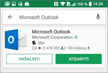 """Bakstelėkite Atidaryti, kad atidarytumėte """"Outlook"""" programą"""