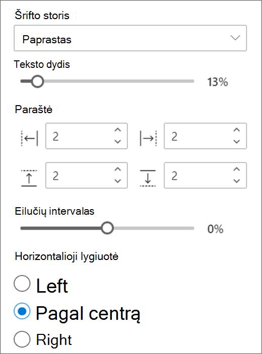 Teksto formato pasirinkimai