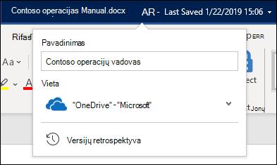 """Išplečiamasis meniu iš dokumento pavadinimo programoje """"Word"""", skirtos """"Office 365"""""""